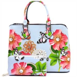 Flower Printed Satchel & Wallet